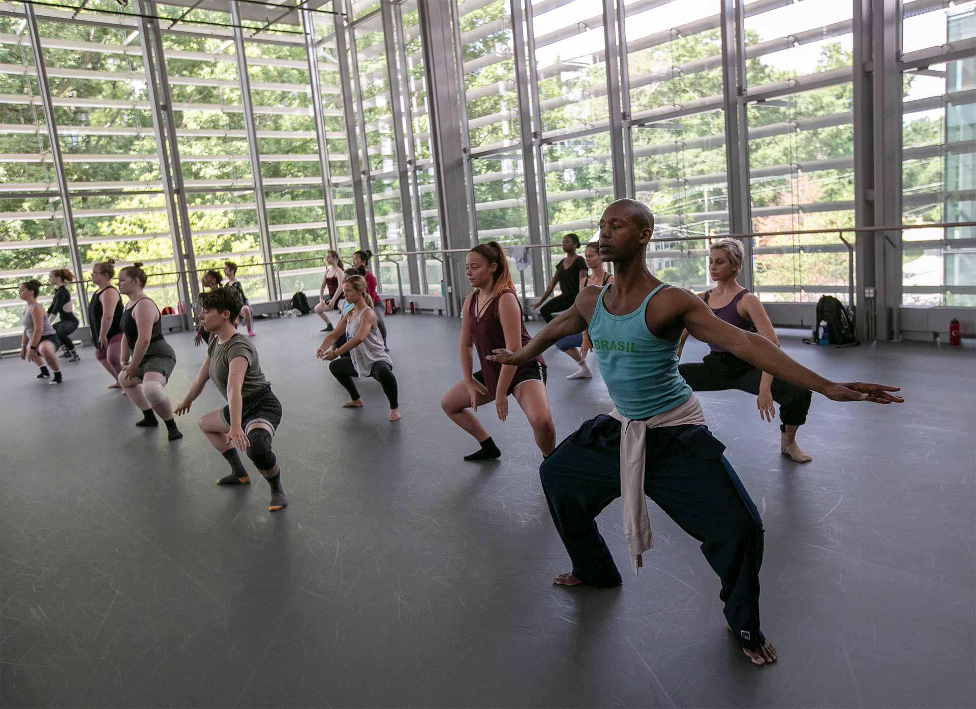 Students take dance courses in the Rubenstein Arts Center at Duke University as part the American Dance Festival.