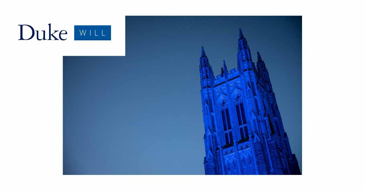 Duke Will teaser image: The Chapel is lit in Duke Blue